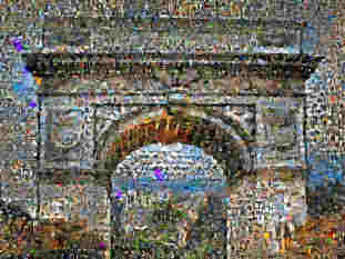 A photo mosaic showing the Arc de Triomphe