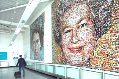 The mosaic of Her Majesty The Queen in London's Gatwick Airport