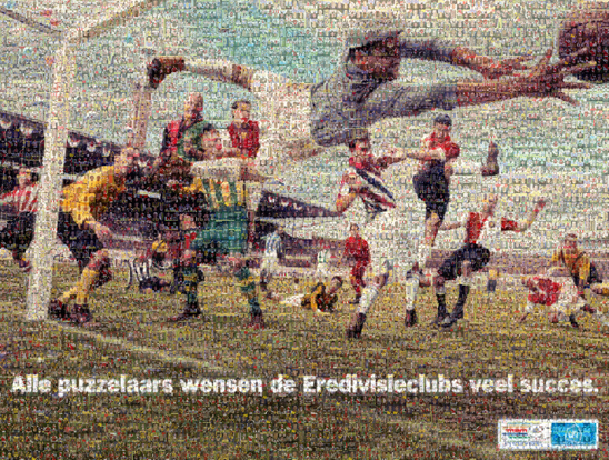 Albert Heijn's design for the jigsaw mosaic depicting top-flight Dutch footballers
