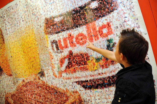 A mosaic hung in the Victoria and Albert Museum as a promotion for Nutella