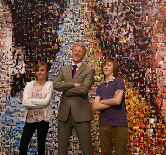 BBC Anchor-man Rob Smith by the Jubilee Mosaic at The Towner Gallery