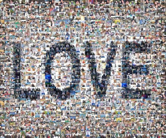 A photo mosaic showing the word Love