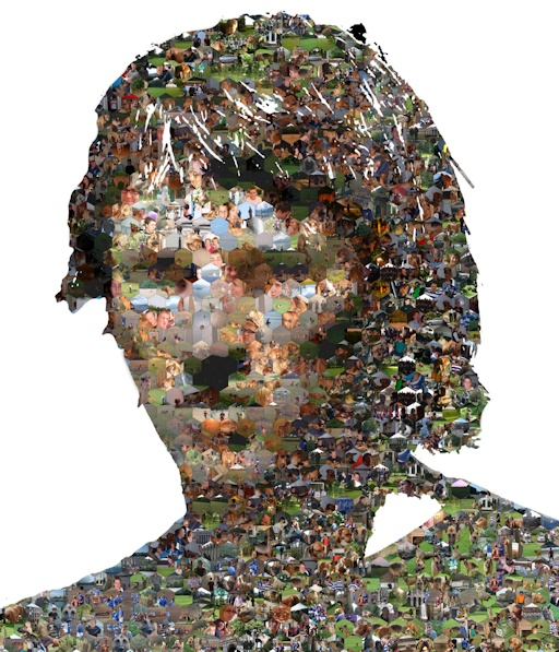 A photo mosaic in hexagons with the profile cut out