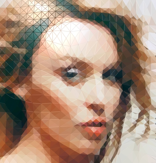 Kylie as a mosaic of computer-generated tiles